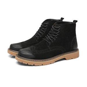 Hot-venta de cuero de los nuevos hombres cargadores de Martin Bullock hombre occidental botas de cordones masculino ocio de los zapatos Oxford Boots única tobillo