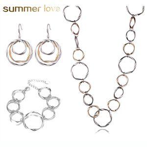 Новый дизайн мода Punk Многослойная круг мотаться серьги ожерелье браслет для женщин Большого круглого Hiphop ювелирных изделий серьги подарка