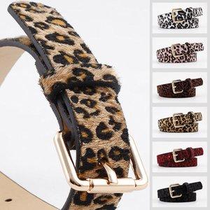 Women Belts Cummerbund Horsehair Belt With Leopard Pattern Rose Gold Metal Buckle Waist Belts Leopard Black Red Sexy Belt