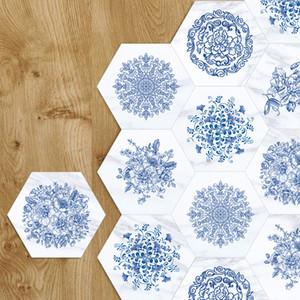 3D الطابق ملصقات الأزرق الأبيض الخزف الرخام المضادة للانزلاق للماء الجدار ملصق للحمام مطبخ الذاتي لاصق ورق الحائط
