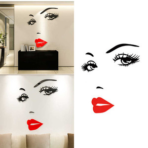 Eyelashes and Red Lips Wall Sticker for Living Room Bedroom Background Decorations Decals Wallpaper Hand Carved Stickers