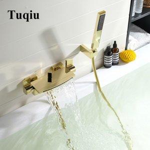 Tuqiu Banheira Duche Set Wall Mounted Cachoeira torneira da banheira, Casa de Banho quente e fria banheira e chuveiro torneiras misturadoras de latão ouro T200612