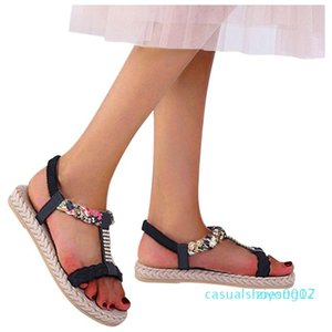 Crystal T-type Printed Sandal for woman flower Elastic Band Peep Toe Flat With Sandals Shoes Woman Zapatos De Mujer 2020 z07