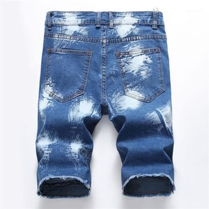 Shorts drapeado Buraco Skinny Mens refrigeram Jean Shorts Moda joelho Mens Calças Hot Designer Mens Jean