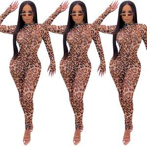 Мода Дизайнерские женские Комбинезоны с длинным рукавом Leopard Printed Perspective марлевые Тощий Bodysuit Клуб женщин Дизайнер одежды
