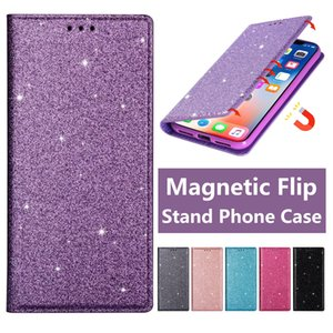 Glitter Leather Phone Case for Samsung Galaxy S20 Ultra Note10 S10 Plus A91 A81 iPhone 11 Pro Max Magnetic Attraction Flip Stand Cover Case