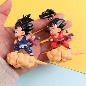 7cm Dragon Ball Z Super Saiyan Son Goku Somersault Cloud Pendant Keychain Child Goku Key Chain PVC Figure Model Toy