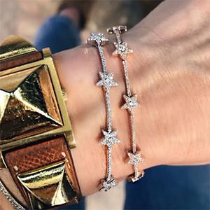 Новые прибывшие нежные звездные цепи браслеты с подвесками проложили крошечный искрящийся блестящий камень CZ для женщин простые украшения партии свадебные подарки