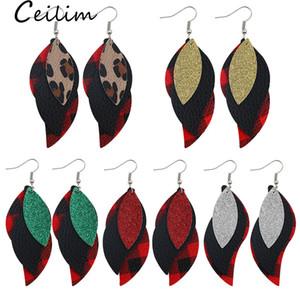 Orecchini di cuoio Foglia PU 5 colori Stilista di moda per le donne della stampa del leopardo griglia multistrato ciondola orecchini di goccia partito dei monili di regalo di nozze