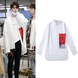 2019 Printing shirt for boy men hip hop white oversize tee dance thin overshirt casual shirt for men and women long sleeved blouse couple