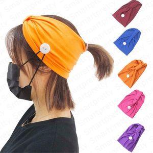 2020 della fascia delle donne di colore solido di ginnastica di sport Knit fascia dei capelli con il tasto del Wearable maschera di protezione Protect sudore Ear Yoga Absorbing Hairlace E4911
