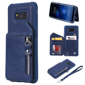 For Samsung Galaxy S8 Plus Case Zipper Humanized Card Slot Design Cover Double buckle Stand shockproof Mobile Phone Cases