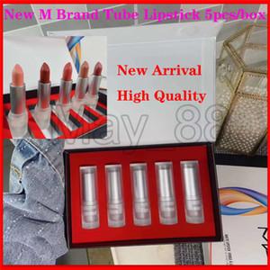 2020 nueva llegada M Marca del lápiz labial 5pcs / set Tubo del lápiz labial del lápiz labial mate Rouge unas palancas con un envío rápido bolsas de regalo