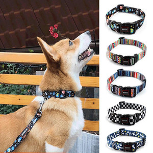 New Designer Pet Dog Accessories British Style Printing Dog Collar Adjustable Size Breathable Dog Collar And Leash 2-piece Set Pet Supplies