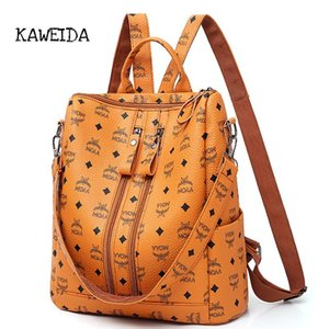 Women Fashion PU Backpack Girls Soft Leather Printed Shoulder Bag Ladies large fashion female Bagpacks for School Teenager Brown