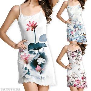 Fashion Sexy Frauen-beiläufige Bügel-Sleeveless Bodycon mini kurze Verein-Kleid mit Blumenmuster-Kleid