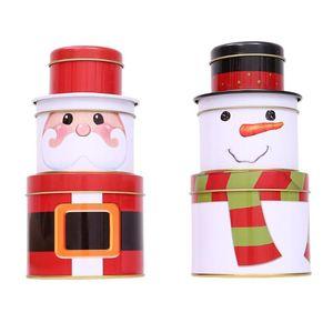 3 Ebenen Abnehmbare Christmas Candy Can-Geschenk-Kasten Plätzchen Tinplate Box Kinder Zucker Desktop-Organizer Weihnachtsdekoration