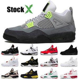 Top Cheap 2020 Red 4 Jumpman Retro 4s Chaussures de basket-ball feu blanc Quel jour Singles tatouage LVS NEON Off des femmes des hommes Sneakers Formateurs