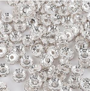 300 unids / lote blanco AB Crystal Rhinestone Rondelle Spacer Beads DIY 8 mm encantos para la joyería