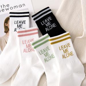 Otoño Invierno divertidos calcetines de algodón mujeres de dibujos animados lindo calcetines cortos larga carta Harajuku Calcetines Damas Blanco grueso Caliente Carta del brillo de la manguera
