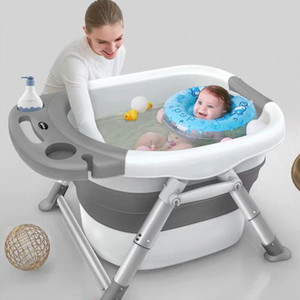 Baby Bathtubs for Infants Childrens Folding Bath Bucket Multifunctional Aluminum Alloy Bathtub Large 0-15 Growth Stage Bathtub