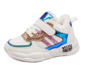 Sonbahar / kış 2019 yeni deri çocuk pamuk ayakkabılar çocuk yastıklı ayakkabılar kız artı kadife su geçirmez koşu çocuk ayakkabıları