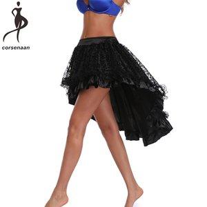 Plus Size Victorian Asymmetrical Ruffled Satin Lace Trim Gothic Skirts Women Corset Vintage Steampunk Skirt 937# Y200704