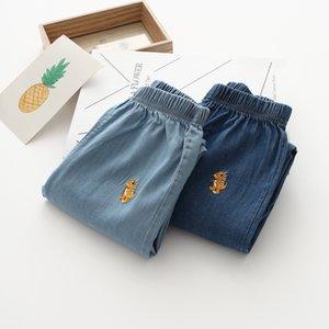 Cartoon Little Dinosaur Embroidered Crawler 19 Summer Men And Women Children Korean-style Jeans Childrenswear 32605