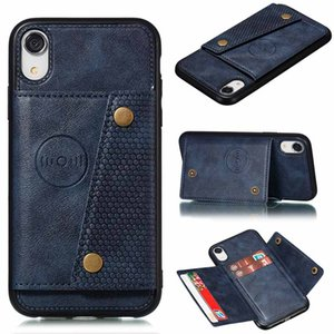 Cas de téléphone en cuir PU foriphone XS XS MAX XR x 8 7 6S 6PUS Portefeuille de portefeuille pour Samsung S10 S9 S8 Plus FIXP Coque Coque