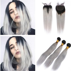 Dark Root 1B / Серый Ombre Бразильских Виргинские утки волос с закрытием Straight Ombre Silver Gray 4x4 Lace Closure с Weave Связка 4шта Лотом