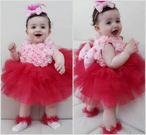 Pink and Red Flower Girls Desses With Big Bow 3D Floral Appliques Ball Gown Toddlers Pageant Gowns For Wedding Party Dress