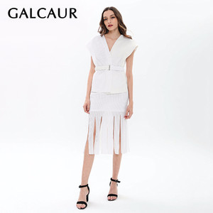 GALCAUR Skirt Two Piece Set Women Sleeveless Sashes Tunic Pullover With Tassel High Waist Midi Skirts Spring Fashion 2020