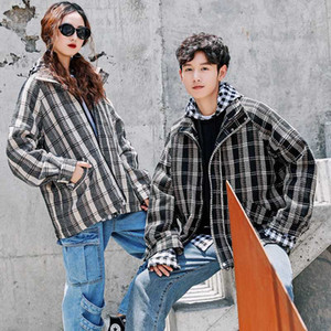 UYUK Autumn Style New Couples Retro Plaid Youth Loose Casual Trend With Students Jacket Hombre Streetwear Clothes