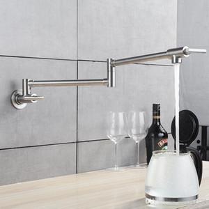 Küchenarmatur Wand Topf Füllstoff Wasserhahn Doppelgelenk Auslauf Nickel Gebürstet Mischbatterien Küchenarmatur