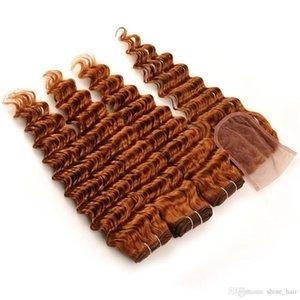 # 30 Medium Auburn 4x4 cabelo indiano do Virgin Humano Lace fechamento frontal com Weaves onda profunda Ondulado Medio Auburn 3Bundles com fecho 4pcs Lot