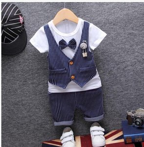 Summer children's clothing summer Korean version of the boy's suit striped fake two-piece vest bow tie short sleeve five-poin