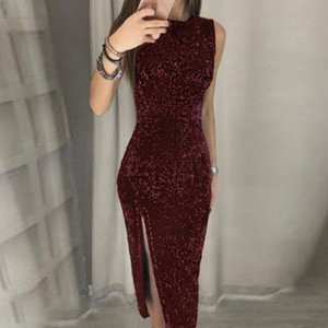 Women Sexy Vestidos De Festa Sleeveless Sequin Bodycon Party Dress Wedding Prom Formal Dress Women Hot Sales