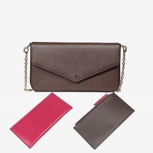 높은 qulity에 우레탄 휴대 전화 가방 지갑 세 조각 2018 새로운 3 -에 - 하나의 체인 가방 어깨 가방 메신저 가방 분리 + 상자