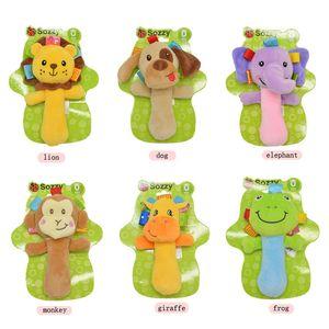 2020 New Design Baby Rattle Ring Bell Toy weicher Plüsch-Elefant Dog Owl Lion Tier Beißring Baby frühe pädagogische Puppe Freies Verschiffen