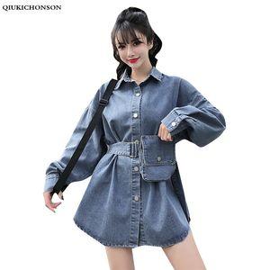 Qiukichonson Lace Up Túnica jeans longo Blusa 2020 Primavera Vintage Long Sleeve Womens blusas senhoras Denim Shirt Camisa das calças de brim