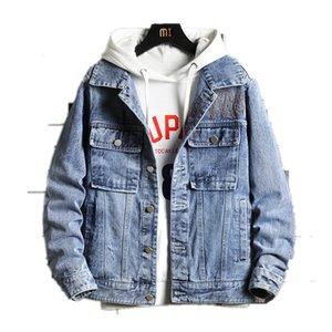 Jackets Vintage Slim Denim Fit Solid Color Casual Mens Jeans Coat Fashion Stand Clothes for Men Black Blue