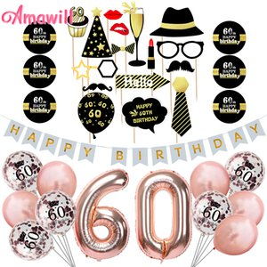 Amawill 60th Birthday Party Decoration Kit Buon compleanno Banner Palloncini in oro rosa Creativi 60 anni di età per feste 75D