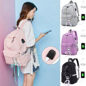 Anti-robo de las mujeres Portátil Mochila + puerto de carga USB del bolso de escuela