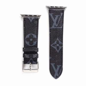 Cadeau Marque cuir watchbands pour Apple Voir la bande 42mm 38mm 40mm 44mm iWatch 1 2 345 bandes en cuir Bracelet Bracelet Fashion Stripes A03