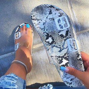 2020 Women Slippers Sexy Transparent Snake Ladies Slippers Summer Fashion Gladiator Slides Crystal Sandals Beach Shoes