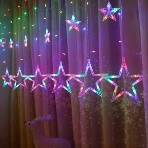 2.5M Christmas Garland Star Fairy light Curtain LED Icicle String Lamp For Outdoor Xmas new year Decor Lighting Y200603