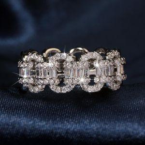 Nueva joyería vintage única mujeres de moda real 925 esterlina plateada princesa corte blanco topaz cz diamante mujeres anillo de la cadena de boda regalo
