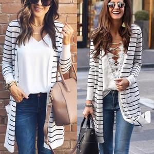 Tops mujeres ocasional otoño de manga larga de punto señoras de la rebeca floja rayada suéter largo Outwear