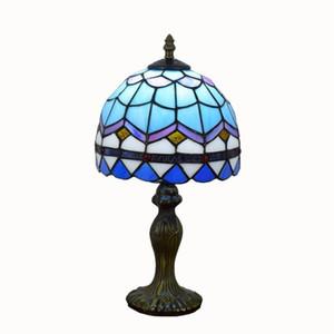 Tiffany Stained Glass Lampada Da Tavolo Blu europeo Mediterraneo Lampada Da Tavolo Creativo Camera Da Letto Comodino Lampada Da Tavolo 20 cm piccole lampade