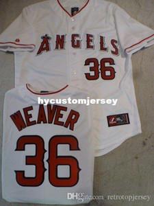 Cheap personalizzato MAJESTIC Anaheim # 36 Jered Weaver Sewn baseball maglia bianca Mens cucita maglie grande e grosso formato XS-6XL In vendita
